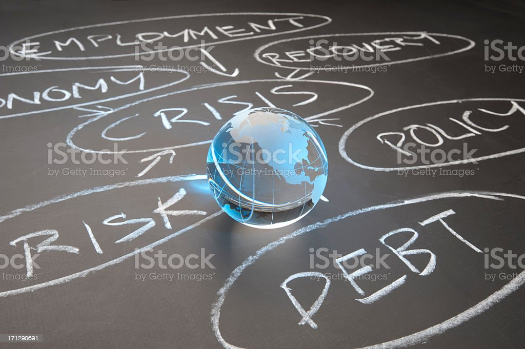 Debt crisis flowchart on a chalkboard stock photo