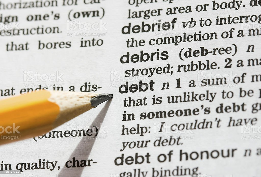 Debt defined royalty-free stock photo