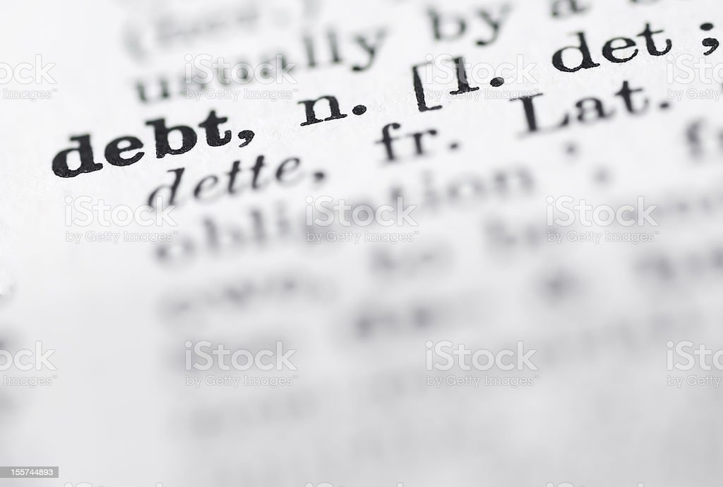 Debt Definition in English Dictionary. royalty-free stock photo