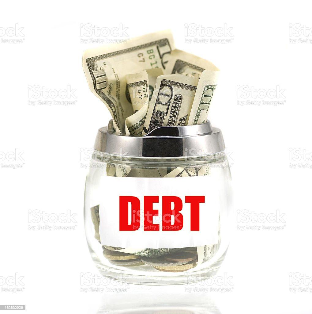 Debt - dollars in glass savings royalty-free stock photo