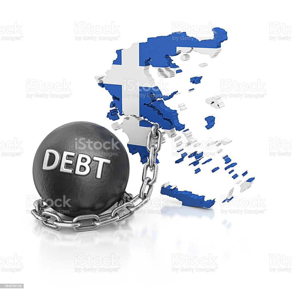 debt greece stock photo