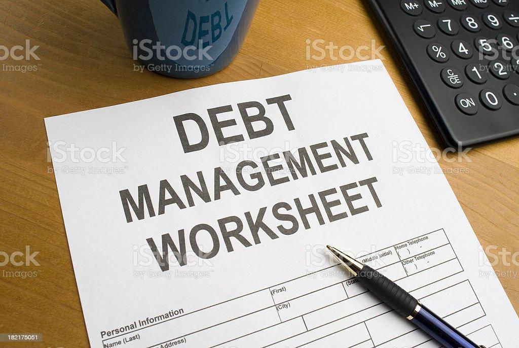 Debt Management Worksheet royalty-free stock photo