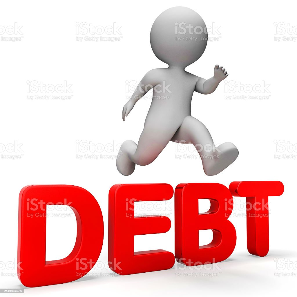 Debt Overcome Means Render Achievement And Breakthrough 3d Rende stock photo