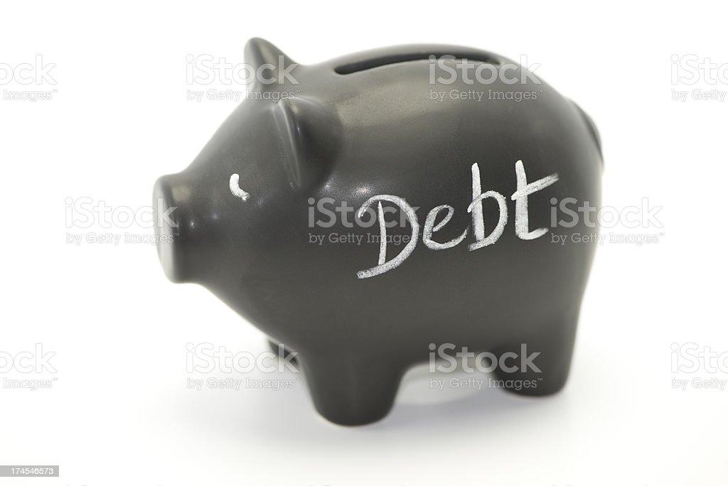 debt pig stock photo