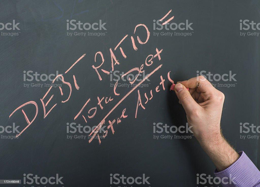 debt ratio on blackboard with hand royalty-free stock photo