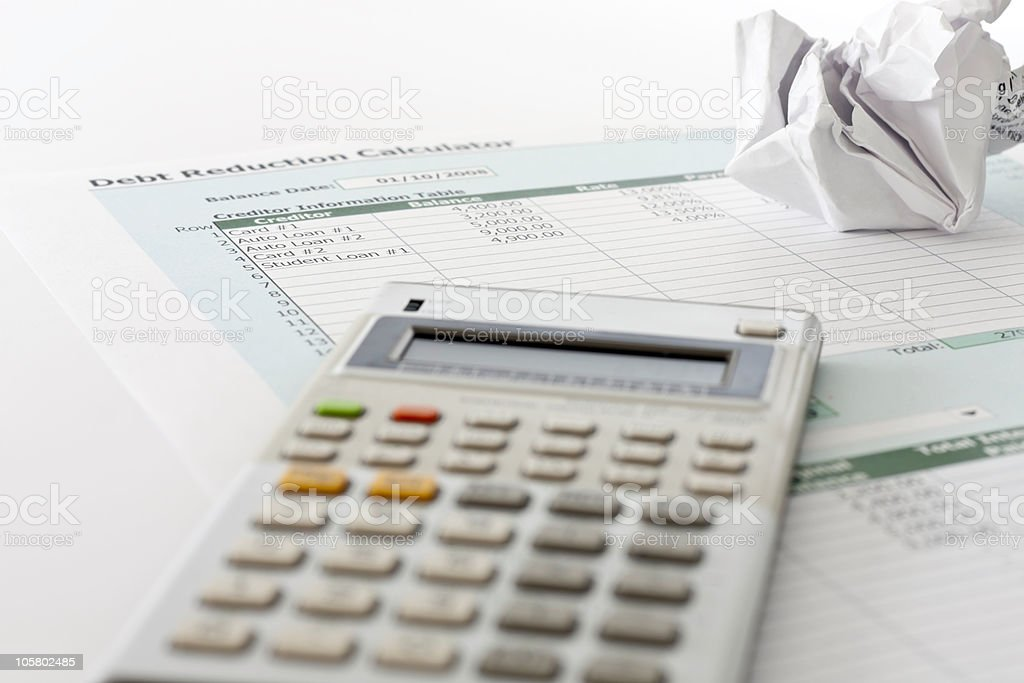 Debt Reduction Calculator stock photo