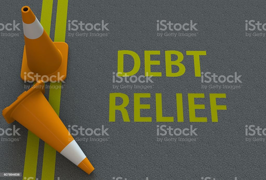 debt relief, message on the road stock photo