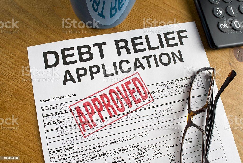 Debt Relief paperwork stock photo