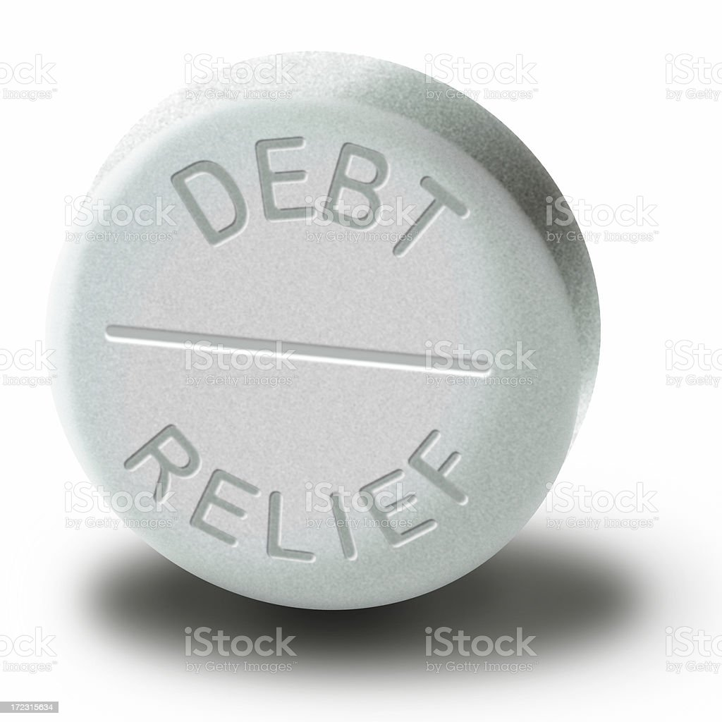Debt Relief Pill created in Photoshop stock photo