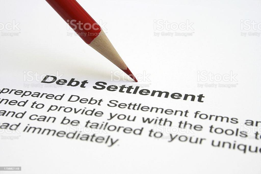 Debt settlement stock photo
