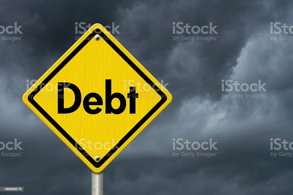 Debt Warning Road Sign stock photo