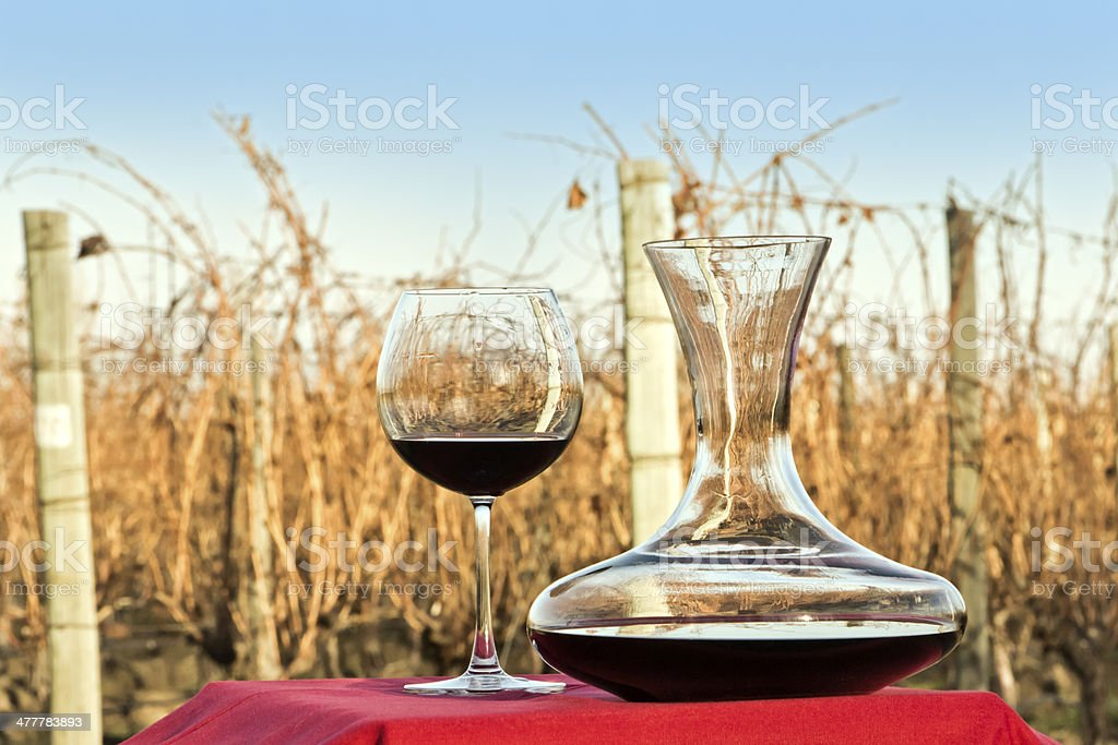 Decanter and glass of red wine royalty-free stock photo