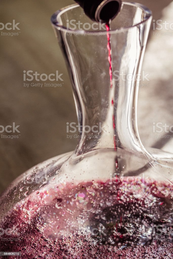 Decanter and red wine stock photo
