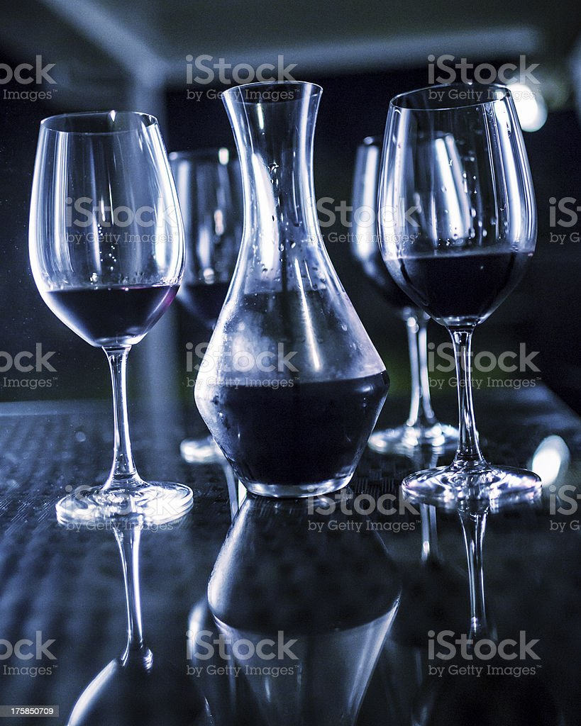 Decanter and wine glasses royalty-free stock photo