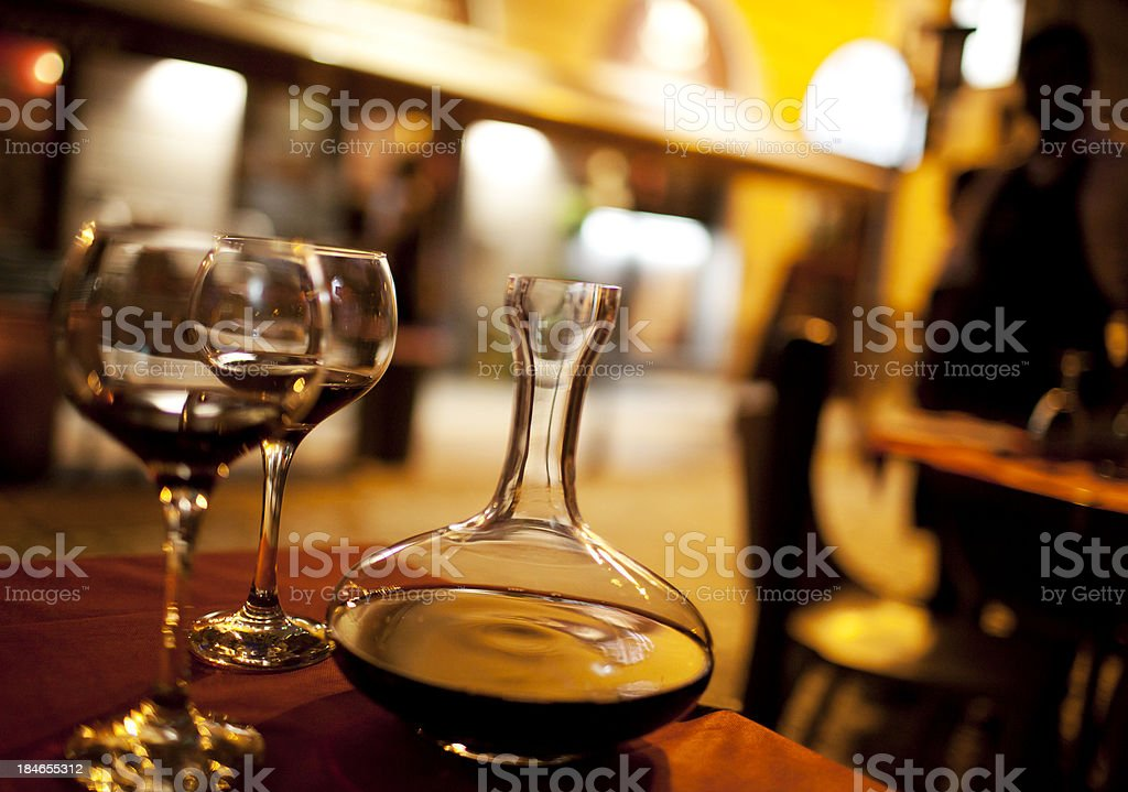 Decanter and wine glasses stock photo