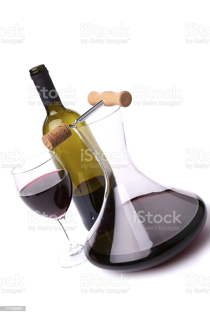 Decanter, bottle and glass with red wine top view royalty-free stock photo