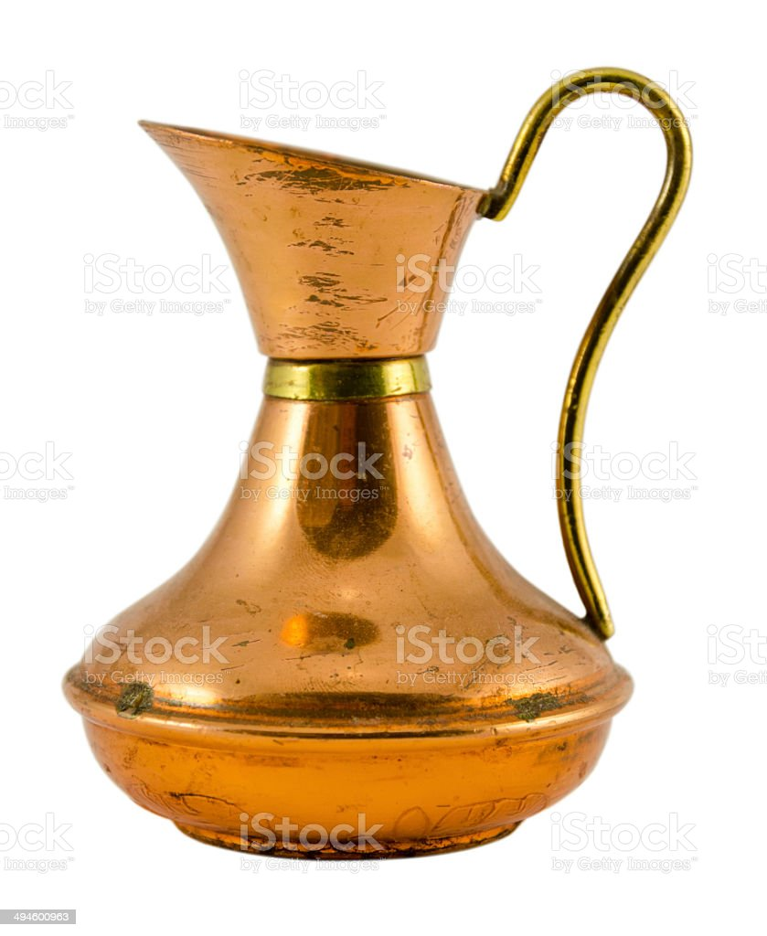 decanter fine form with handle isolated on white stock photo