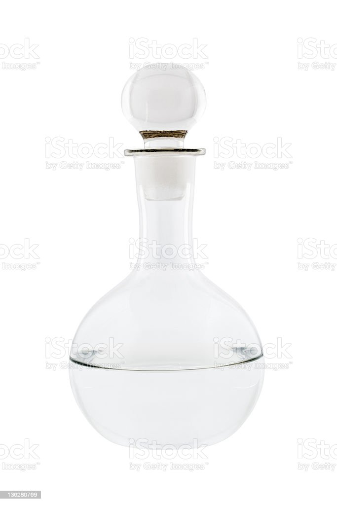 Decanter with clear liquid stock photo