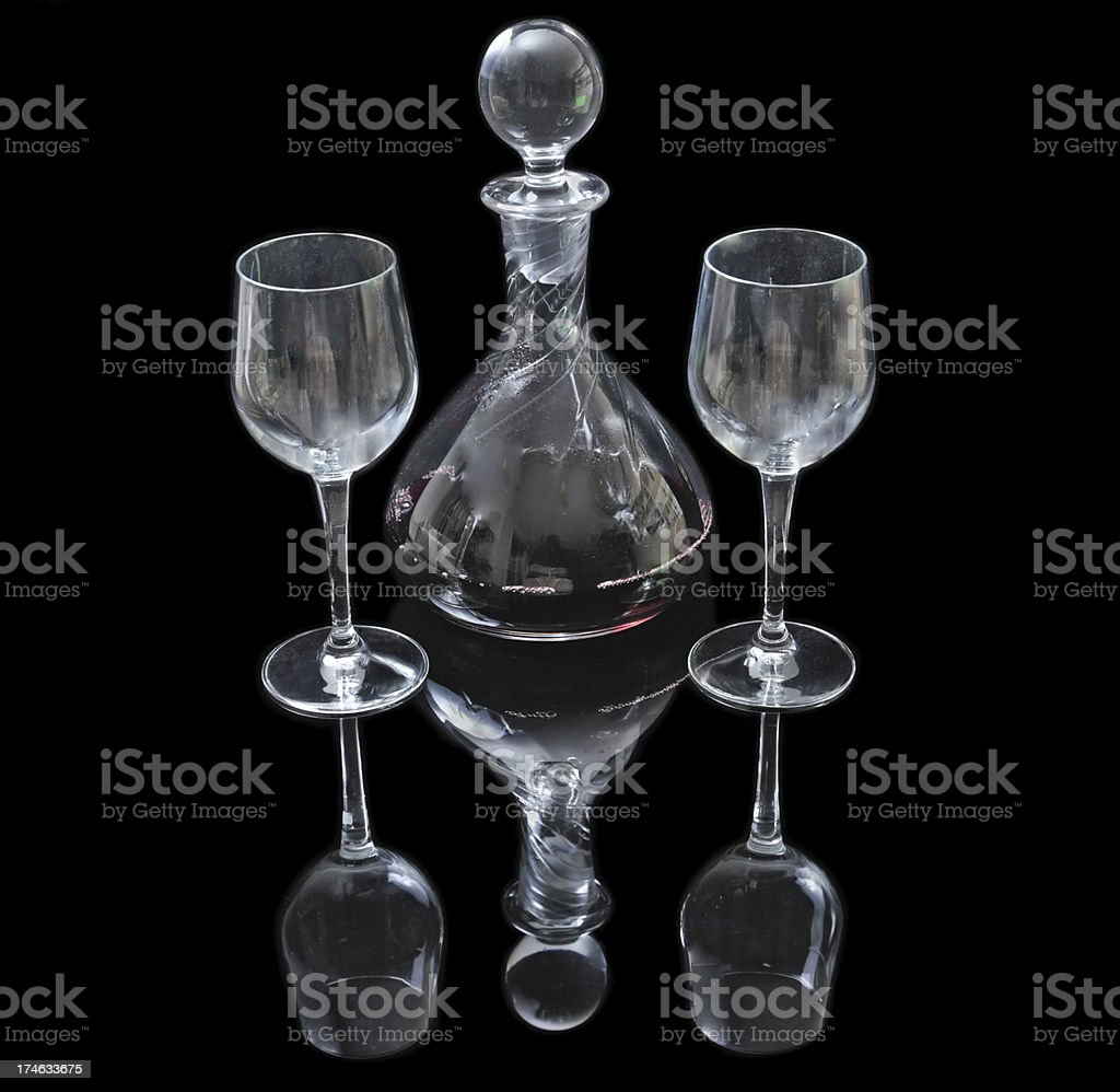Decanter with red wine and glasses royalty-free stock photo