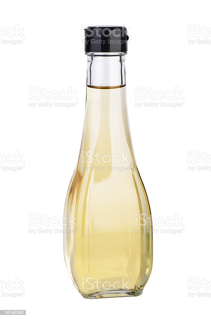 Decanter with white balsamic (or apple) vinegar stock photo