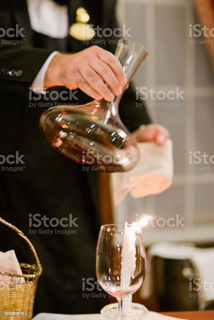 Decanting Expensive Old Wine stock photo