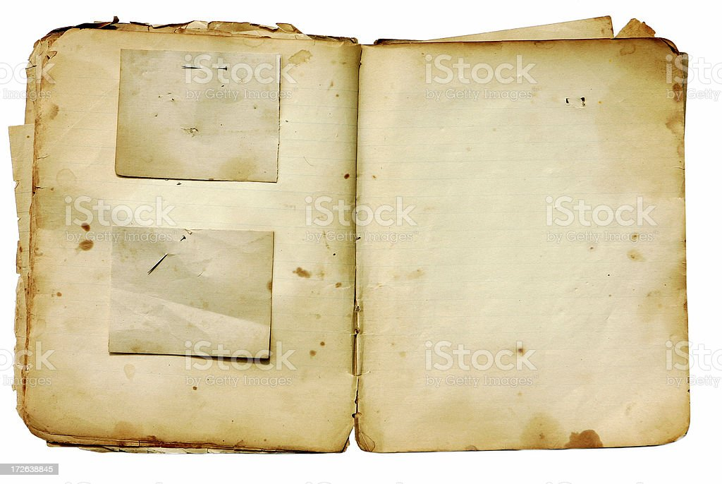 Decayed Scrapbook with Paper Pieces attached by Rusted Straight royalty-free stock photo