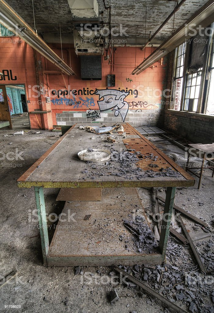 Decayed Table stock photo