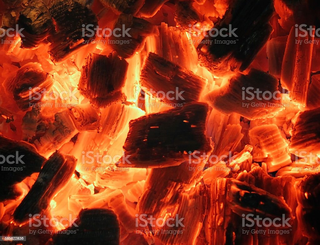 Decaying red charcoal stock photo