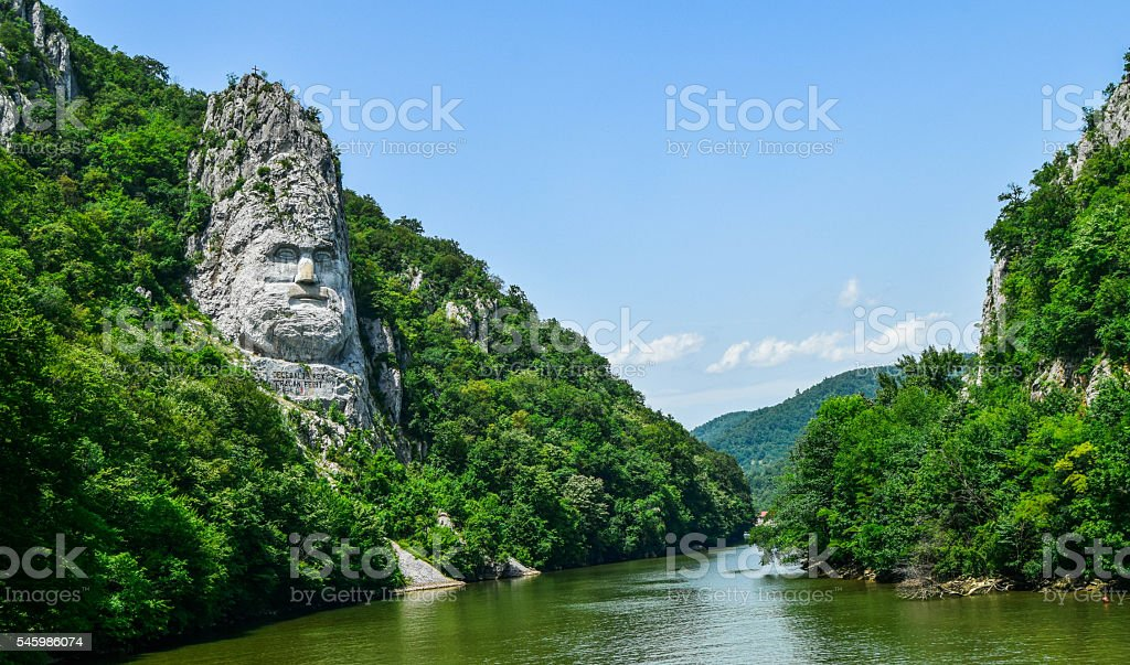Decebal statue in Romania stock photo
