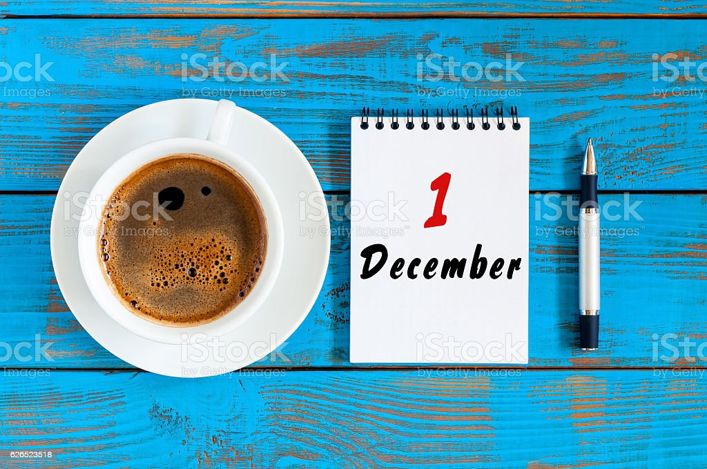 December 1. Day 1st of month, Top view calendar on stock photo