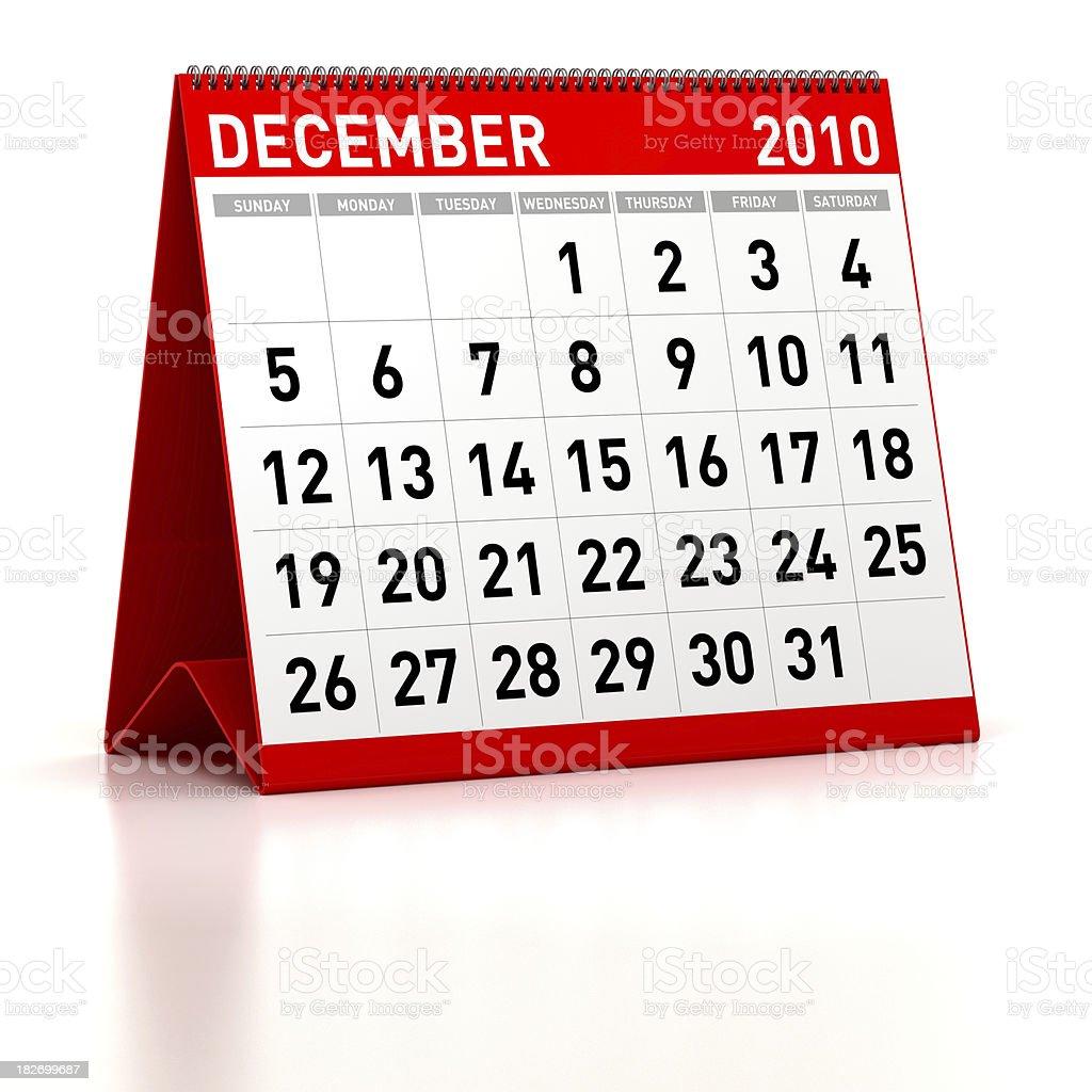 December 2010 - Calendar royalty-free stock photo