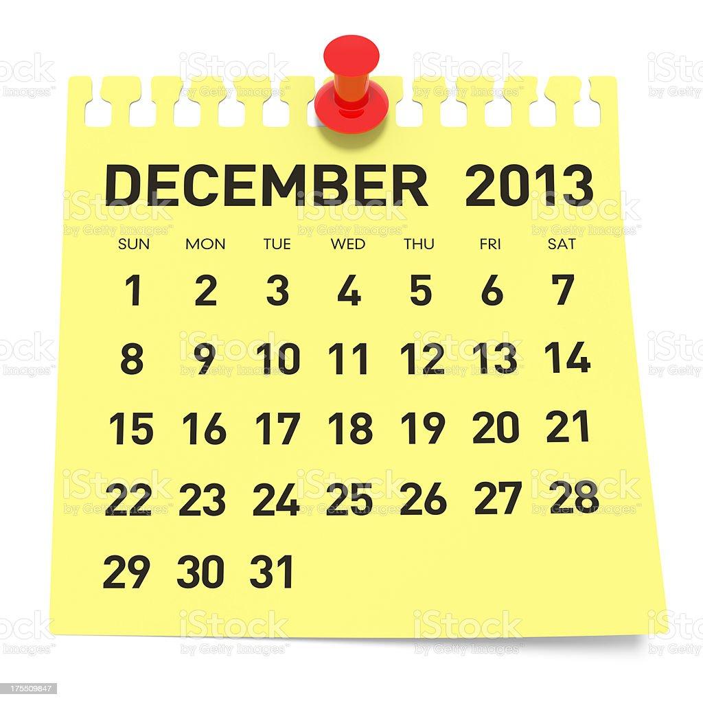 December 2013 - Calendar royalty-free stock photo