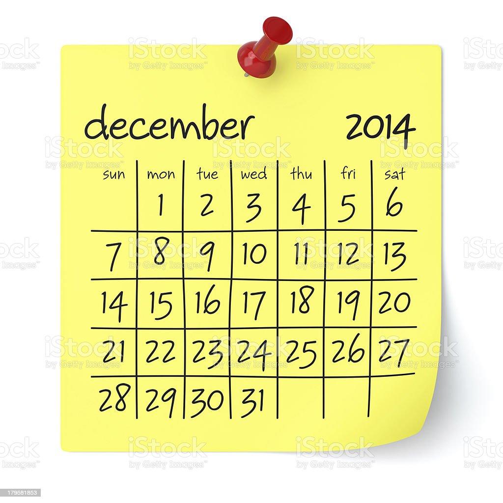 December 2013 - Calendar stock photo