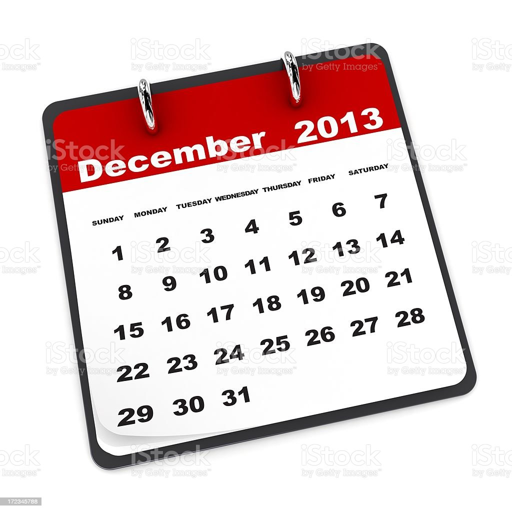 December 2013 - Calendar series royalty-free stock photo