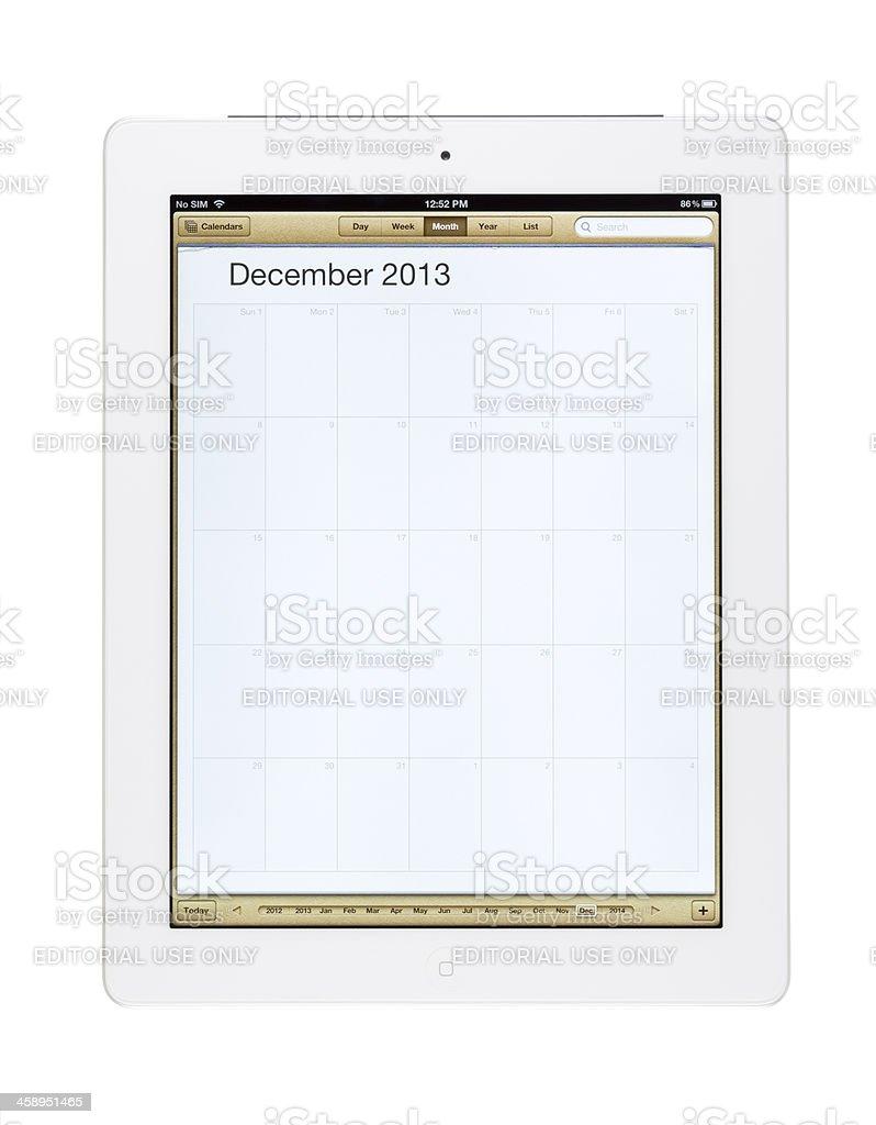 December 2013 Calender on New Ipad royalty-free stock photo