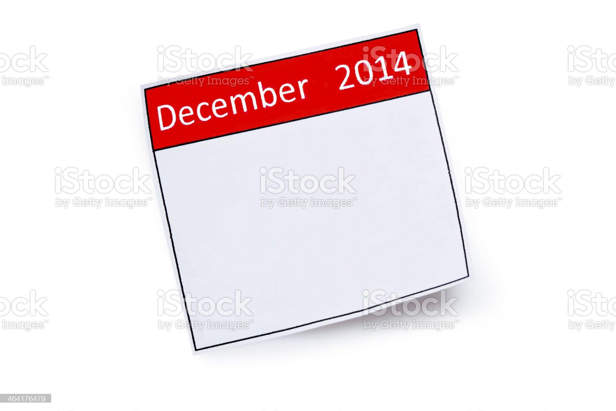 December 2014 Calendar royalty-free stock photo