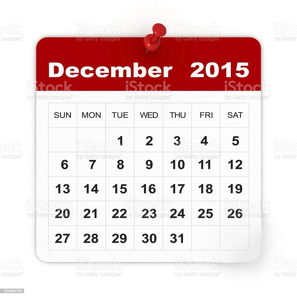 December 2015 - Calendar series stock photo