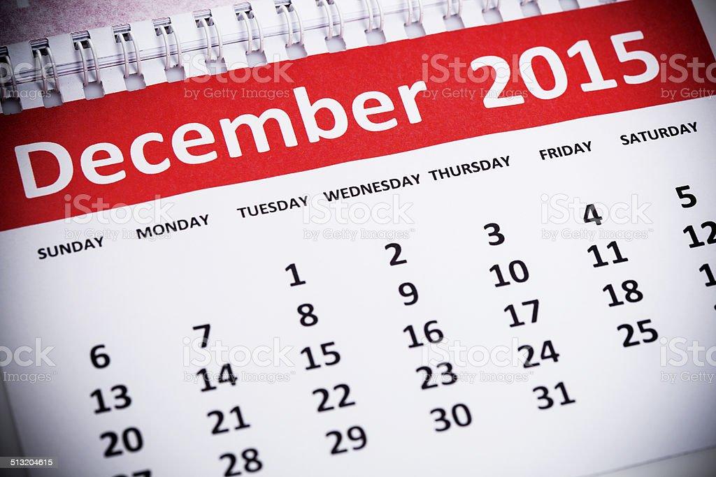 December 2015 stock photo