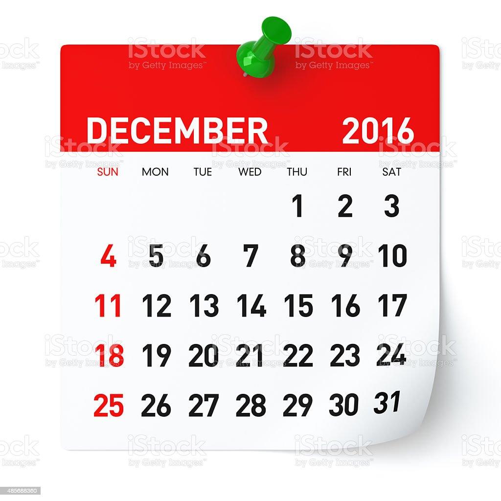 December 2016 - Calendar. stock photo