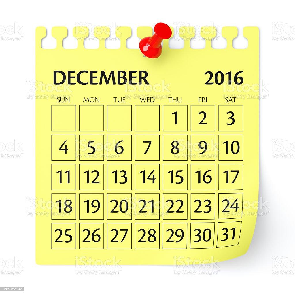 December 2016 - Calendar stock photo