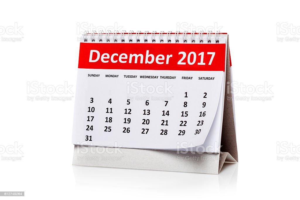 December  2017 Calendar stock photo