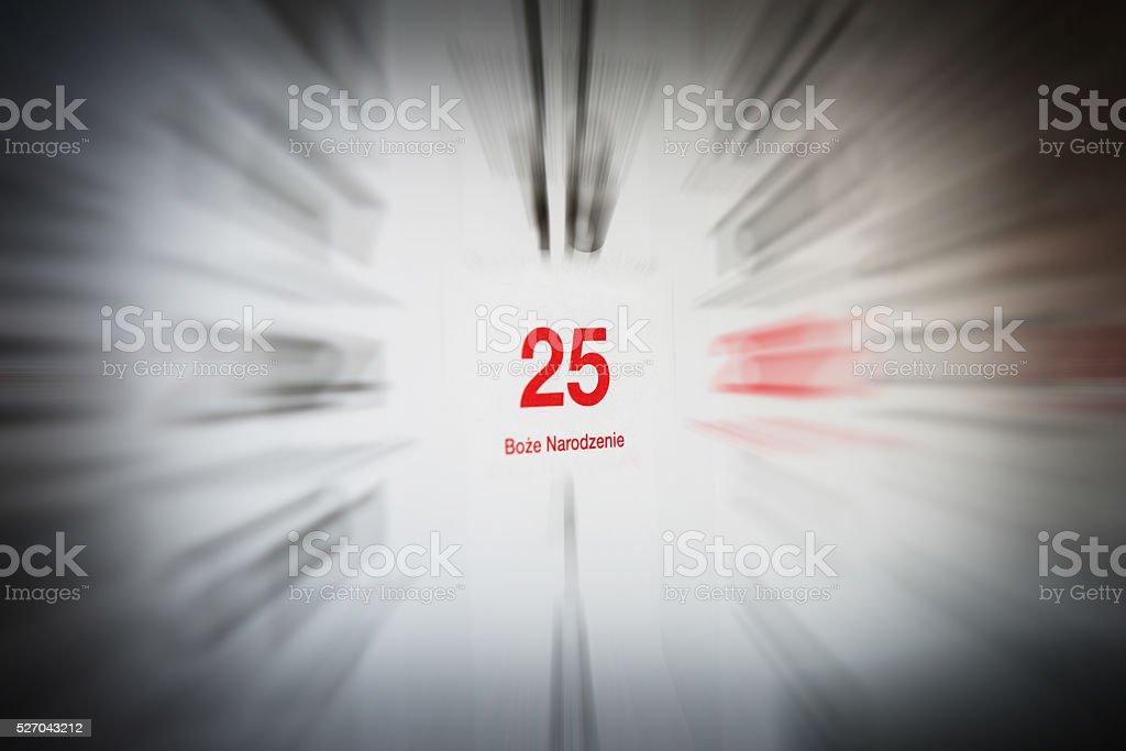 December 25 in the calendar stock photo