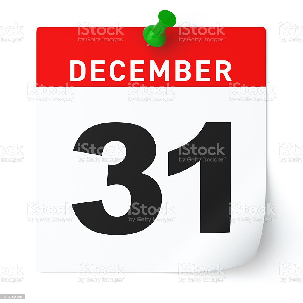 December 31 Calendar vector art illustration