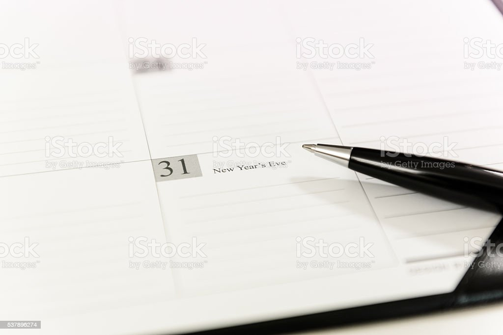December 31 on Calendar schedule paper stock photo