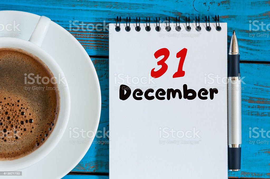 December 31st. Day 31 of month, calendar on workplace background stock photo