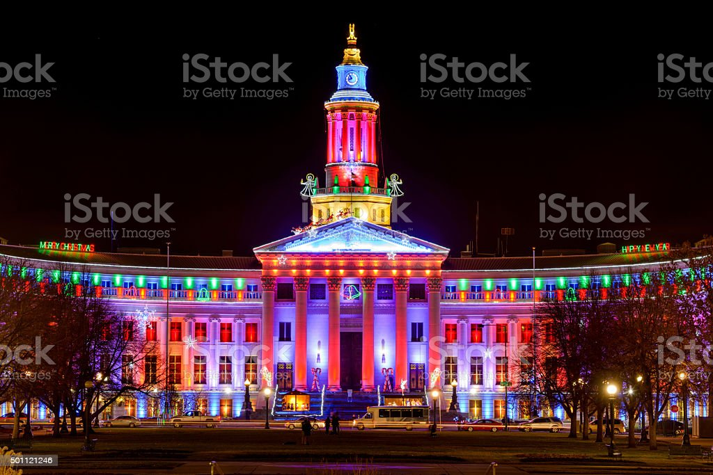 December Night at Denver City Hall stock photo