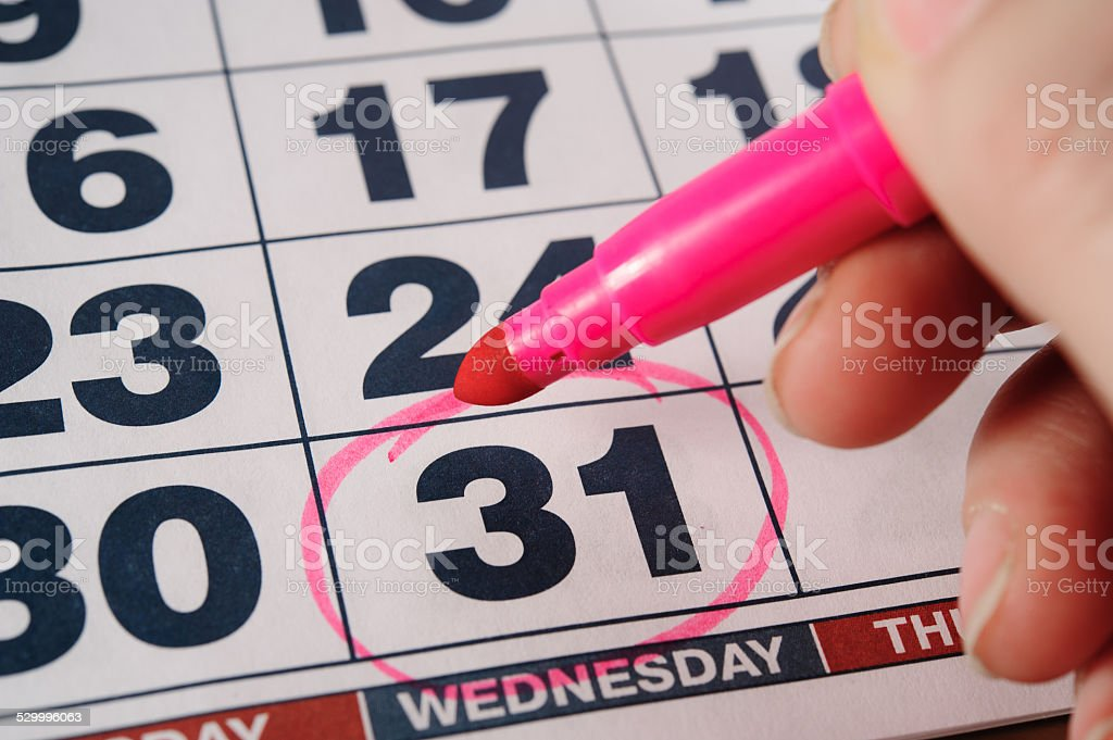 December thirty-first calendar selected date stock photo