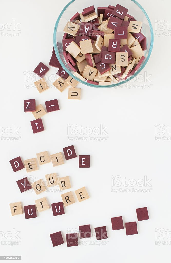 Decide Your Future, Words stock photo