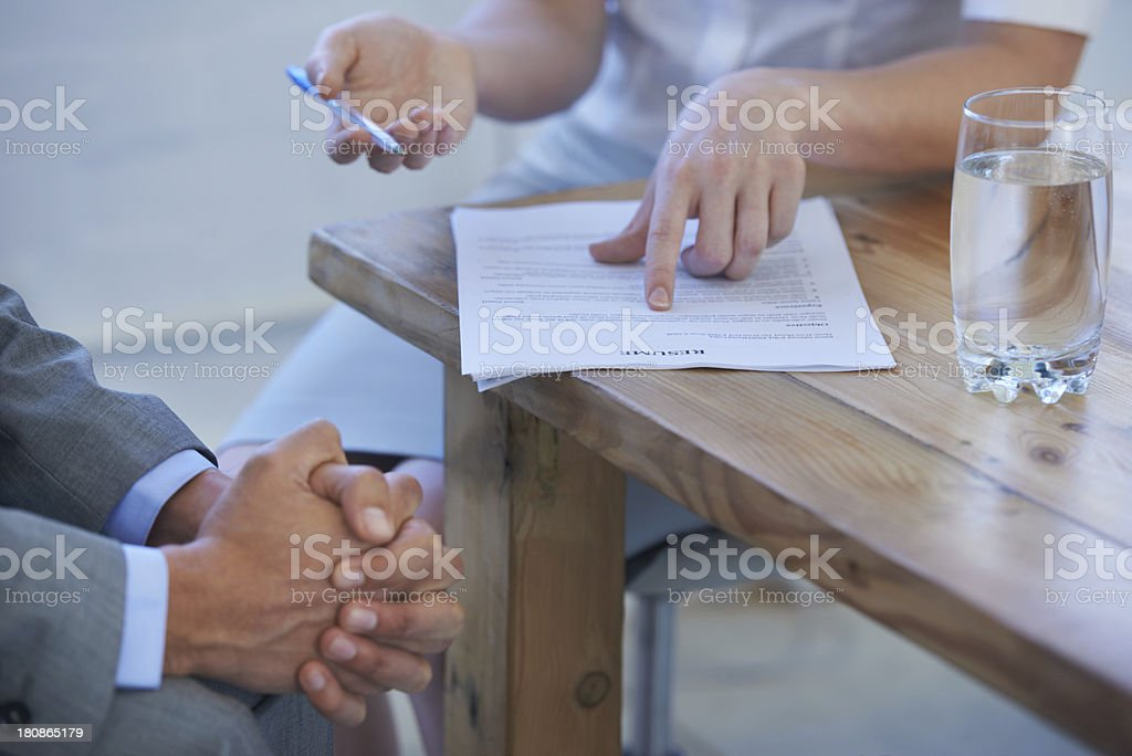 Deciding on a job candidate stock photo