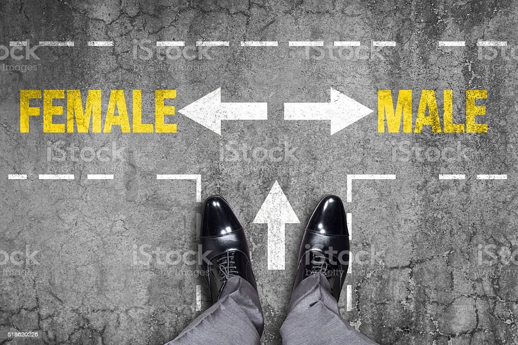 Decision at a wall - Male or Female stock photo